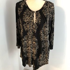 Lucky Brand black viscose tunic top Size L